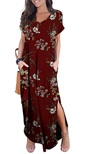 GRECERELLE Women's Casual Loose Long Dress Short Sleeve Floral Print Maxi Dresses with Pockets FP Wine Red-2XL