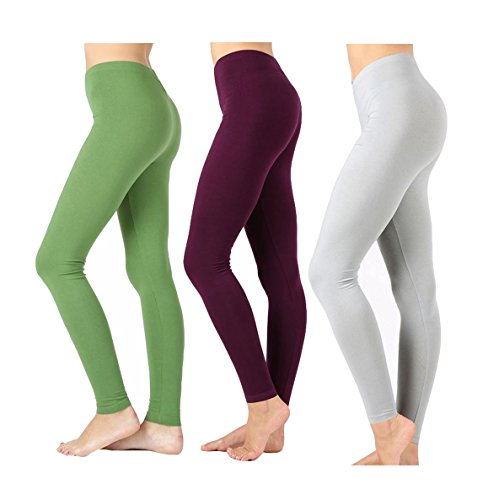 - Zenana Outfitters JKC USA Selected Premium Cotton Full Length Solid Color Leggings Various Colors OP-1851 (Kiwi/Dark Plum/Grey Mist, Medium)