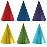 kids party cone hats - Fun Rainbow Birthday Party Foil Cone Hats , Pack of 12, Multi , 7