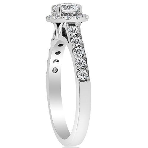 1ct Cushion Halo Diamond Engagement Ring 14K White Gold