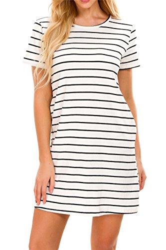 Plus Size T Shirt Dresses for Women Mini Dress Striped Criss Cross Tunic with Pockets 5X-Large White -