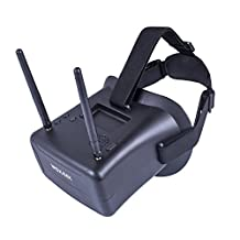 SunFounder FPV Goggles 40CH 4.3 Inch HD 5.8GHz with Dual Antennas and 7.4V 1000mAh Battery for RC Quadcopter