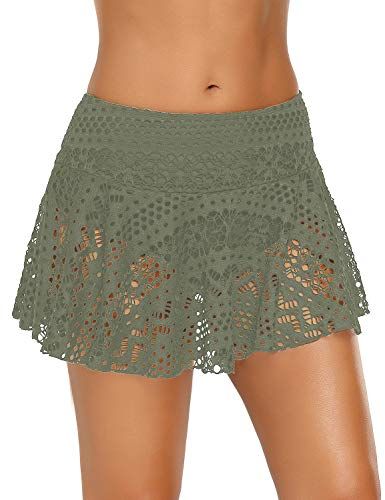(ACKKIA Women's Lace Crochet Skirted Bikini Bottom with Brief Olive Green Short Swim Skirt Swimsuit Size XL 16)