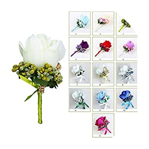 FAT BABY Wedding Artificial Rose Flower Brooch Bouquet Corsage Glitter Rhinestone Ribbon Lace Classic Prom Boutonniere with Pin 34