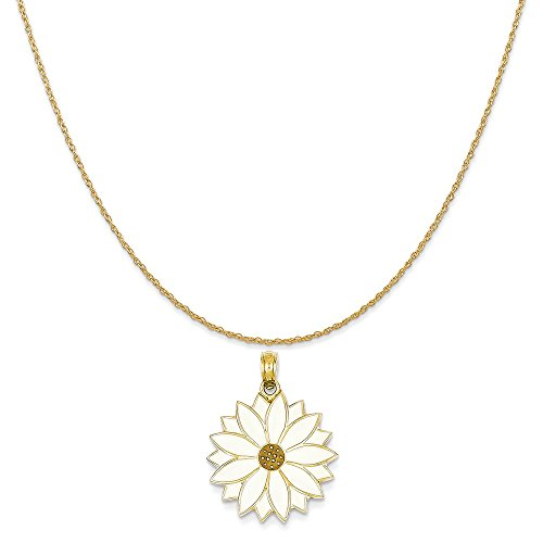 14k Yellow Gold Enameled White Daisy Flower Pendant on 14K Yellow Gold Rope Chain Necklace, - Daisy Enameled Gold