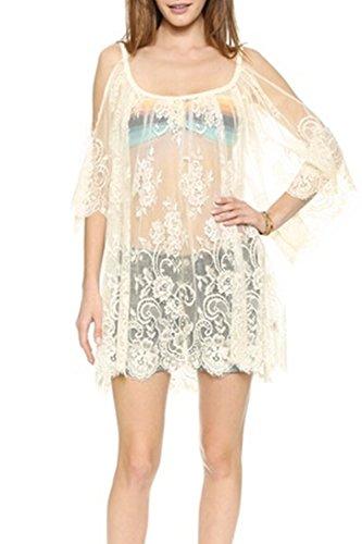 Elegante de encaje vestido de oscilación pura suelta de las mujeres White