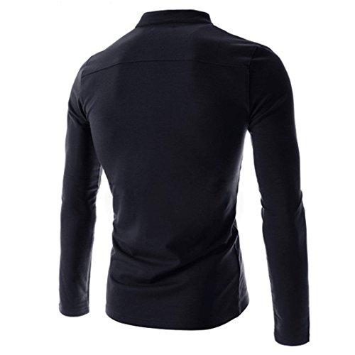 Manga Azul De Hdh Hombre Con Marino Informal; Estilo Para Cuello Camisa Botones Larga 4fwqH5Px1