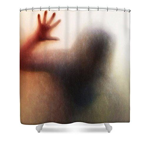 Pixels Shower Curtain (74'' x 71'') ''Panic Silhouette'' by Pixels