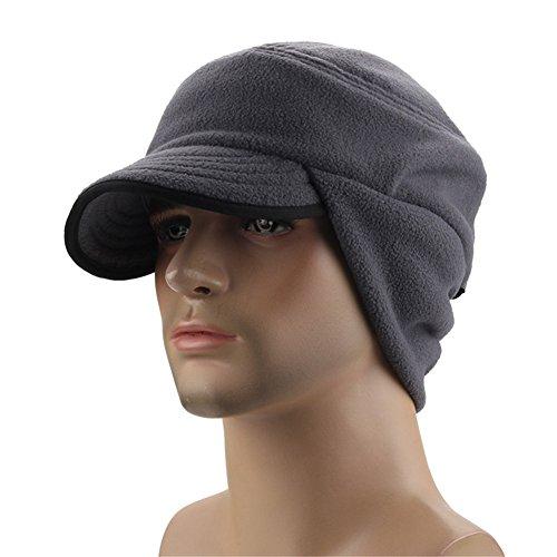 Leories Winter Windproof Cap Outdoor Warm Fleece Earflap Hat with Visor Grey