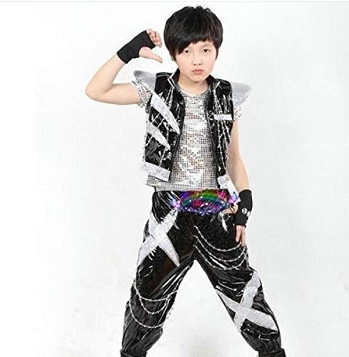 Children boy Girl Sequins Hip-hop Jazz Dance Stage Performance Clothing Children's Drummer Modern Dance Costumes (Silver