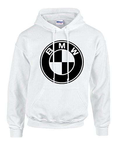 BMW BLACK Logo on WHITE Hooded Sweater / Sweatshirt (Hoodie) - SIZE - Mail Priority Usps Canada