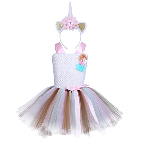 CHICTRY Girls Kids colorful Birthday Costumes Holiday Unicorn Tutus Outfit Dress Ballet With Headband Set White Type A 7-8 - Holiday Gown Sets