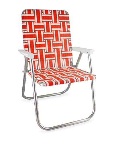 Gentil Lawn Chair USA Aluminum Webbed Chair (Deluxe, Orange And White With White  Arms)