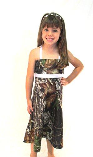 Camo Diva BROOKLYN WHITE Youth Girls Camo Dress Flower Girl Junior Bridesmaid Pageant Party Dress (Toddler Mossy Oak Flower Girl Dress)