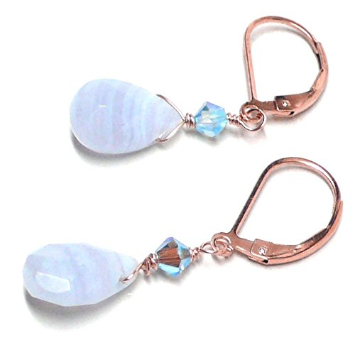 Blue Lace Agate Briolette Lever Back Earrings Swarovski Crystal Rose - Blue Agate Earrings Agate
