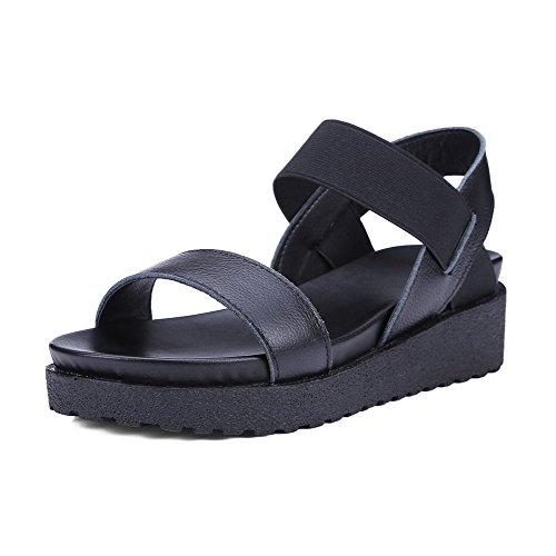 WeenFashion Women's Soft Material Open Toe Kitten-Heels Elastic Solid Sandals, Black, - Richmond Malls Va