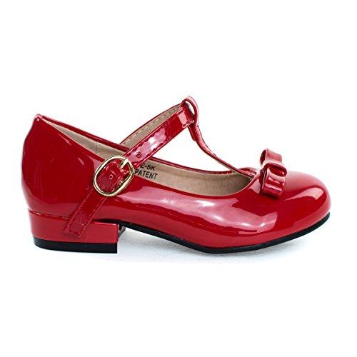 Kate5K Redpt Girl's Mary Jane T-Strap Pump, Chunky Block Heel & Bow, Children Kid Shoe -2