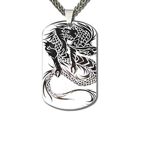 PANQJN Tribal Dragon Tattoo Design Pet Necklace ID Tags for Dogs - Personalized Pet ID Name Tag Attachment