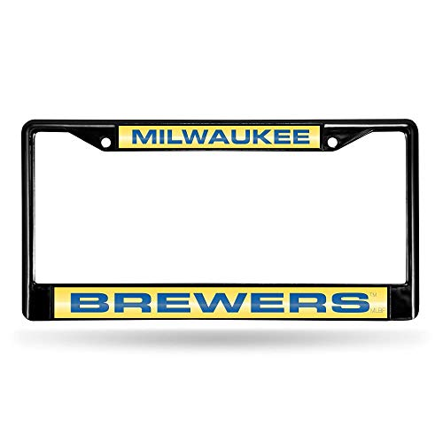 Rico Milwaukee Brewers MLB Black Metal Laser Cut License Plate Frame