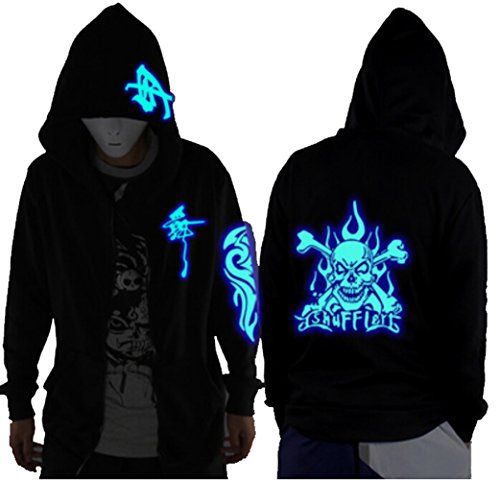 (Unisex-Adult/Teens Galaxy Unique Design Hoodie Luminescent Hoody Jacket Glow Lights at Night (L (Asian Size), Blue Skull))