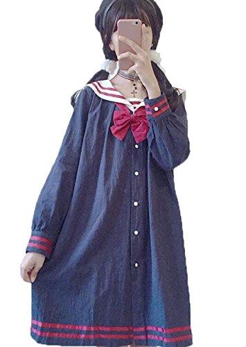 SHUNYI チュニック セーラー襟 ワンピース 森ガール系 レディース ワンピ 長袖 ゆったり Aライン オシャレ シャツワンピース フリーサイズ