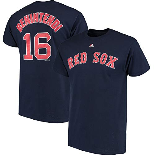 Genuine Stuff Andrew Benintendi Boston Red Sox MLB Majestic Boys Youth 8-20 Navy Home Official Player Name & Number T-Shirt Tee (Size Medium 10-12)