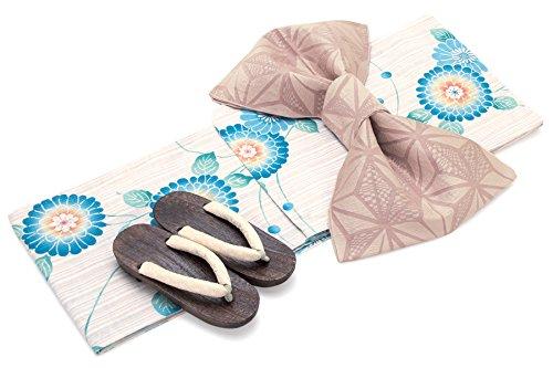 シンプルなギャンブル熱心レディース浴衣セット[浴衣/兵児帯] bonheur saisons 薄茶色 ベージュ 水色 ブルー ピンク ピンポンマム 菊 花 水玉 綿麻 浴衣セット 女性 フリーサイズ
