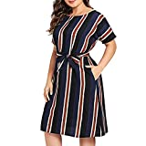 Womens Fashion Summer Casual O-Neck Stripe Short Sleeve Plus Size,Selinora Lady's Loose Sexy A-Line Tie Waist Dress Navy