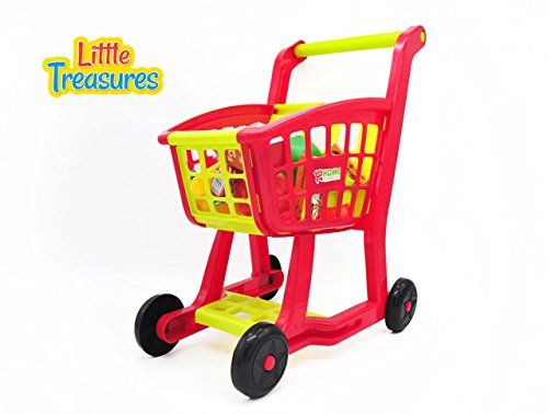 Little Treasures Grocery Supermarket Pretend play shopping cart from Complete with grocery cart and fresh and non-perishable food – 27 accessories included in this quality play set for children 3+