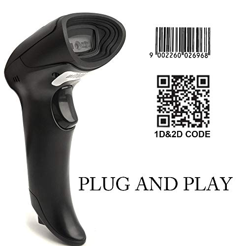 (Handheld CCD Barcode Scanner MUNBYN Auto Sensing Barcode Reader for 1D and 2D QR Bar Code with 1.5 Meters USB Cable Plug and Play)