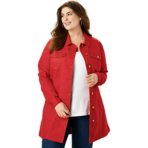 (Jessica London Women's Plus Size Long Denim Jacket - Pepper Red, 22 W)
