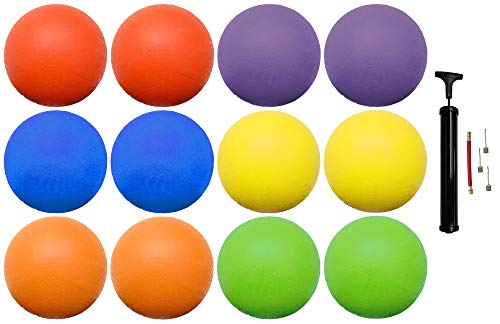 (12 Pack) Rubber Kick Balls 8.5 inch Dodgeball Playground Balls for Kids and Adults – Official Size for Dodge Ball…