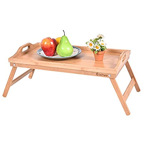PROSPERLY U.S.Product Portable Bamboo Breakfast Bed Tray Serving Laptop Table Folding Leg w/ Handle