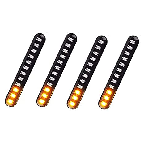 SODIAL 4Pcs Car Motorcycle Flowing Water Tail Brake Lights 12 Led Turn Signals Strip 3528Smd License Plate Light Blinker Stop Flicker