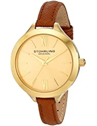 Stuhrling Original Womens 975.03 Vogue Gold-Tone Watch with Tan Leather Band
