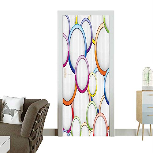 Door Sticker Wall Decals Abstract Chained Bubbles and Circles Round Patterns Ctemporary Easy to Peel and StickW30 x H80 -