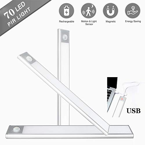 DENG-F LED Closet Light,USB Rechargeable LED Motion Sensor Under Cabinet Lights Wireless Night Lighting with Magnetic Strip and Hook for Closet,Wardrobe,Kitchen,Hallway 405mm