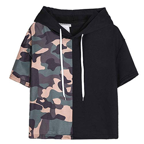 Huazi2 Womens Casual Camouflage Patchwork Hoodie T-shirt Top Tees