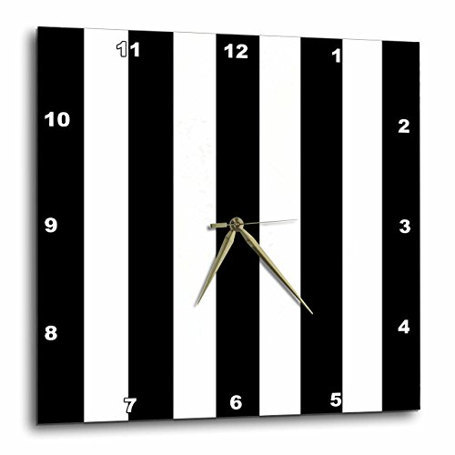 Black Striped Clock - 3dRose Black and White Stripes Pattern - Vertical Striped Stripy Stripey Stripe Retro Traditional Classic - Wall Clock, 10 by 10-Inch (DPP_161541_1)