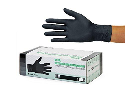 Guantes de nitrilo transparente Guantes libres de latex sin polvo Limpieza Guantes sanitarios para la cocina Cocina Limpieza Limpieza Seguridad Manejo de alimentos, 100 pcs caja (M, Negro)