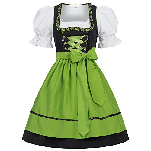 Gaudi-leathers Women's Set-3 Dirndl Pieces Embroidery Froschmaul Black/Green 44 (Ladies Dirndl)