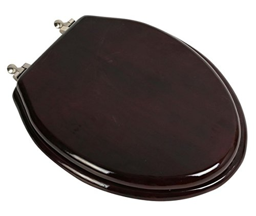 Bath Décor 5F1E2-16BN Elongated Toilet Seat in Traditional Design with Brushed Nickel Metal Hinges, Mahogany Stained - Mahogany Finish Stained