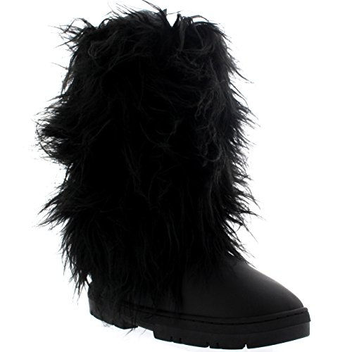 Boots Covered Snow Womens Rain Warm Tall Winter Long Leather Black Holly w6SHF