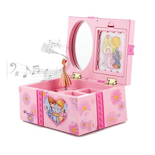 YUNTAO The Music and Dance Girl Jewelry Box, Childhood Memories Storage Case Pink Design, Spinning Princess with Mirror