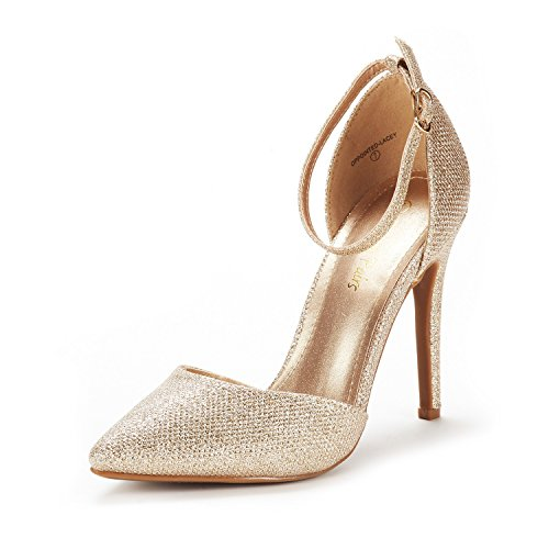 DREAM PAIRS Women's Oppointed-Lacey Gold Glitter Fashion Dress High Heel Pointed Toe Wedding Pumps Shoes Size 6.5 M US