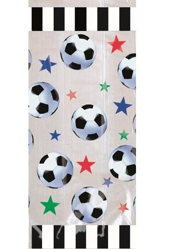 Soccer Large Cello Treat Bags with Green Twist Ties - 20/Pack by AMS