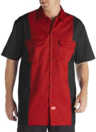 Dickies Men's Two-Tone Short Sleeve Work Shirt WS513BKER - Red - 3X Large