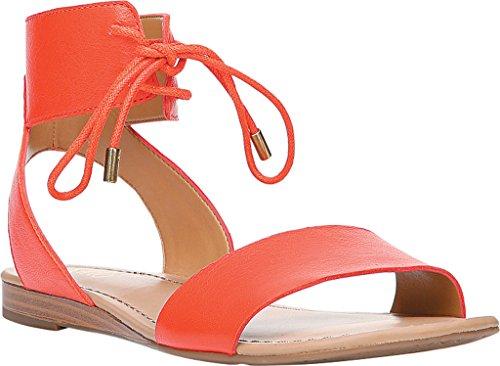 Franco Sarto Womens Glenys Flat Sandal Orange Polly Lux Leather