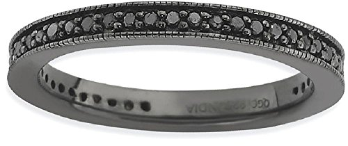 ICE CARATS 925 Sterling Silver Black Diamond Band Ring Size 7.00 Stackable Fancy White Fine Jewelry Gift Set For Women Heart by ICE CARATS