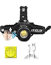 LUXJUMPER XHP99 Led-hoofdlamp, oplaadbaar, 10000 lumen, superheldere koplamp-bewegingssensor, 5 modi, hoofdlamp, krachtige zoomkoplamp met bedrijfsindicator voor camping
